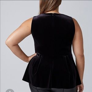 Lane Bryant Tops - 💜Lane Bryant Black Velvet Peplum Top Size 22/24
